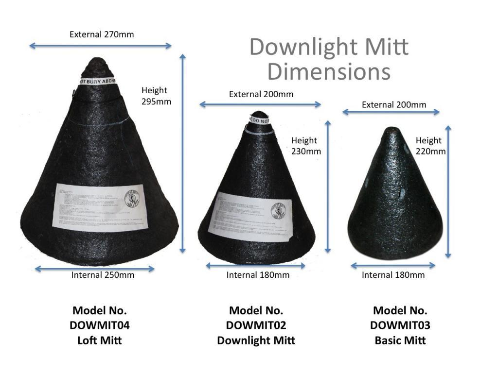 Downlight cover Dimensions