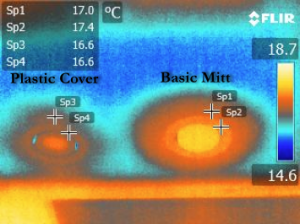 Thermal imaging of Downlight cover compared to plastic