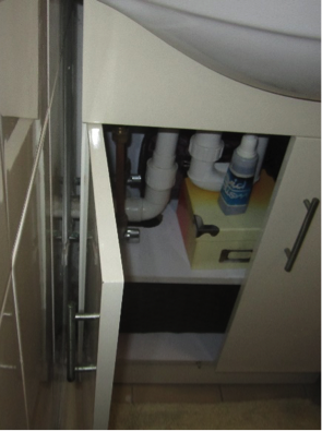 Cabinet air leakage inside.